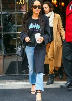 Zoe Kravitz in Jeans and Black Coat Leaves her hotel in New York