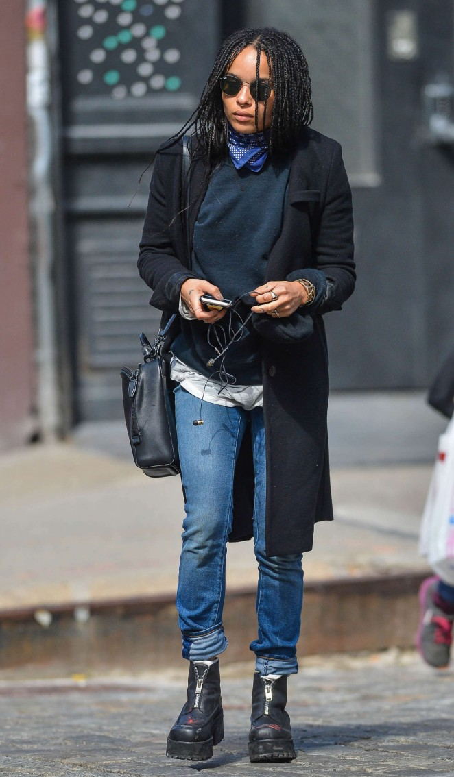 Zoe Kravitz in Jeans Out in NYC
