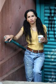 Zoe Kravitz - On set of 'High Fidelity' in Brooklyn
