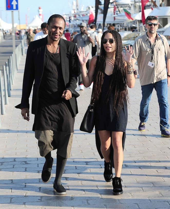 Zoe Kravitz in Mini Dress Out with a friend in Cannes