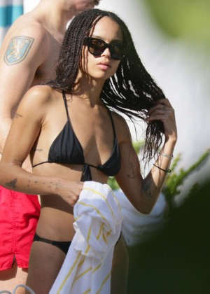 Zoe Kravitz in a bikini at a pool in Miami