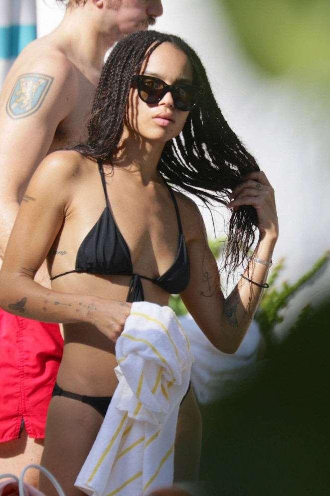 Zoe Kravitz – Wearing a bikini at a pool in Miami
