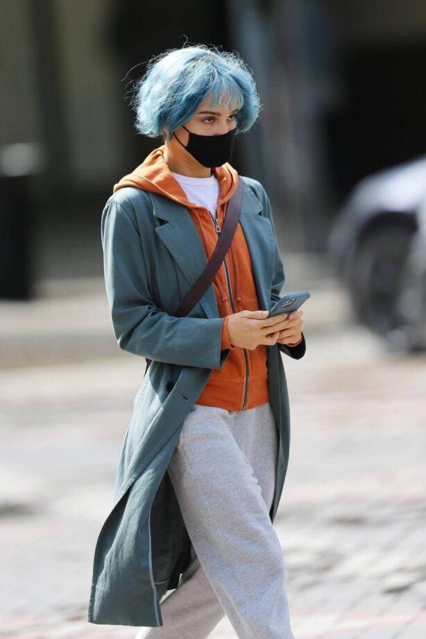 Zoe Kravitz - With neon blue hair on 'Kimi' set in Seattle - Washington