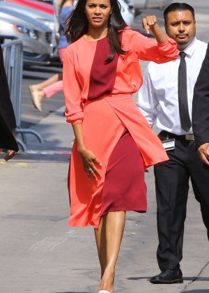 Zoe Saldana - Arriving at 'Jimmy Kimmel Live!' in Hollywood