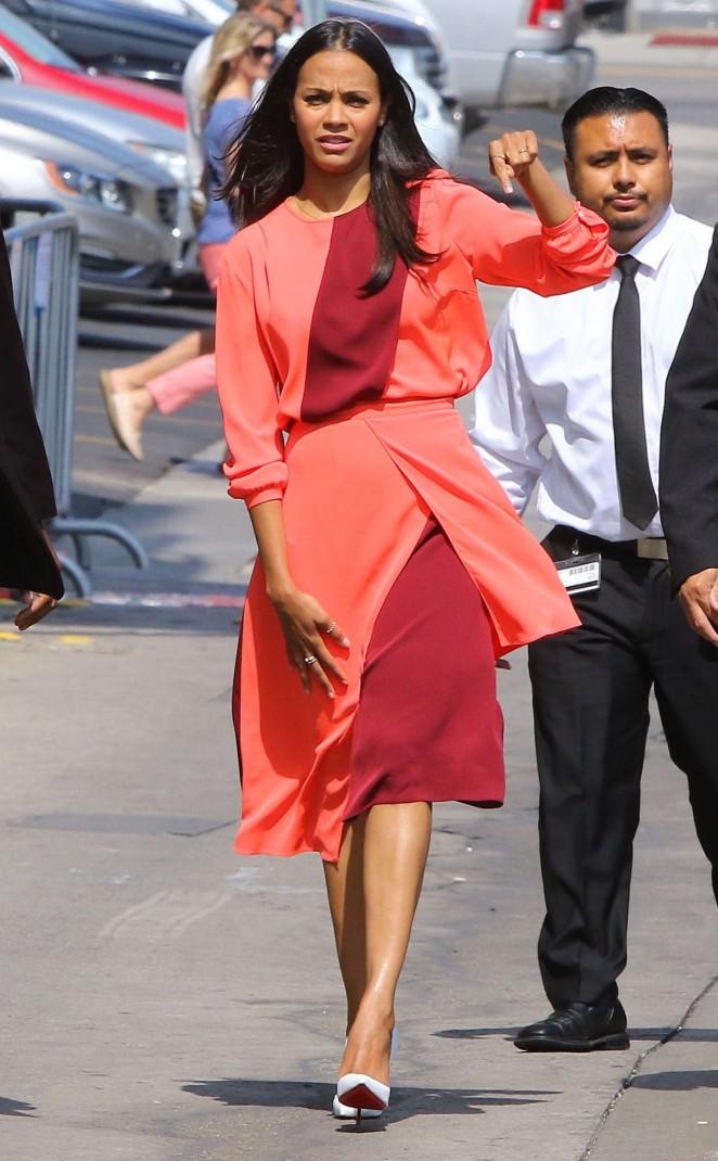 Zoe Saldana - Arriving at 'Jimmy Kimmel Live!' in Hollywood