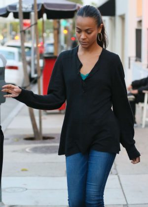 Zoe Saldana at Au Fudge in West Hollywood