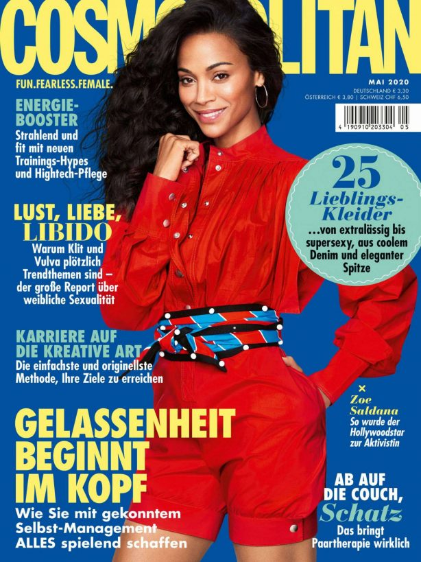 Zoe Saldana - Cosmopolitan magazine (Germany - May 2020)