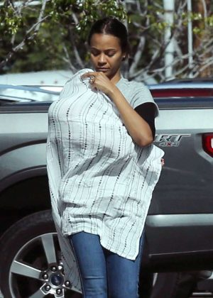 Zoe Saldana d out with her son in Los Angeles