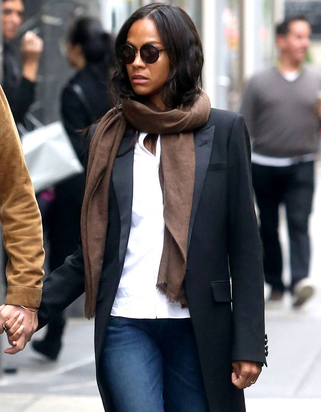 Zoe Saldana in Jeans out in New York City