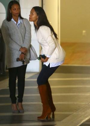 Zoe Saldana - Leaving a meeting in West Hollywood
