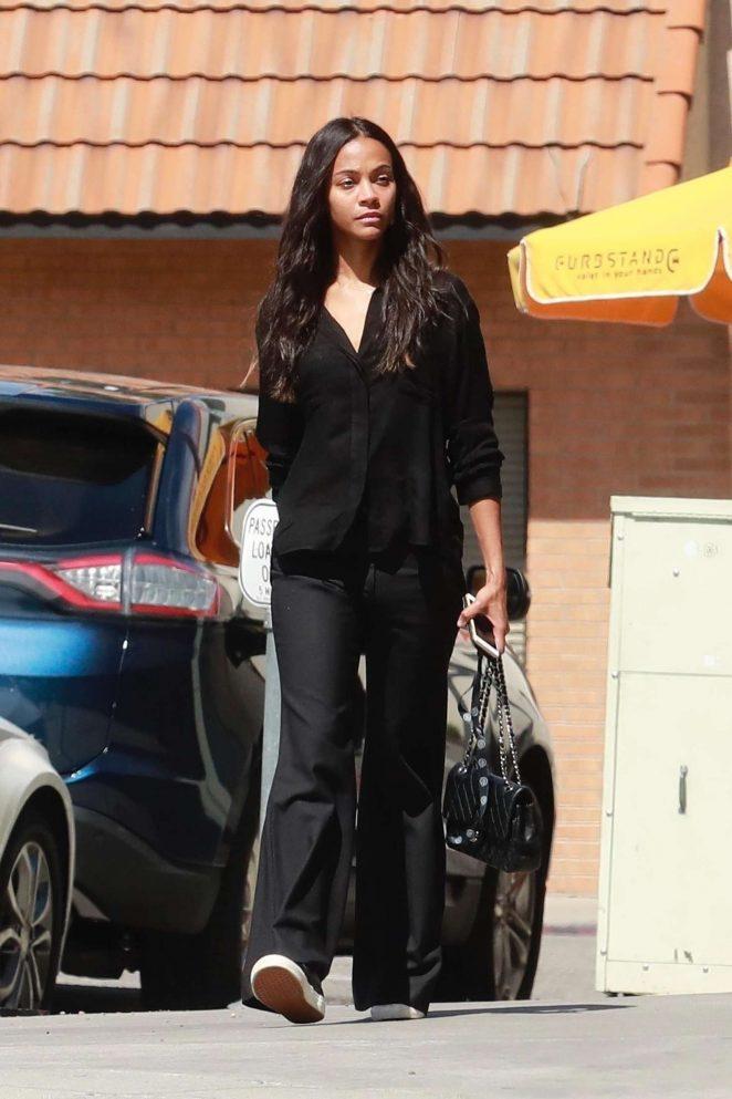 Zoe Saldana - Leaving Granville restaurant in Studio City