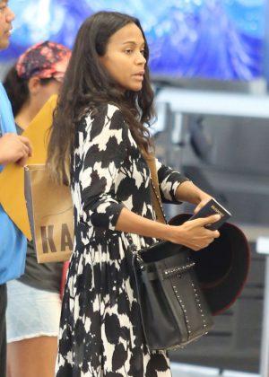 Zoe Saldana Leaving Honolulu Airport in Hawaii