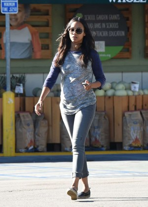 Zoe Saldana - Leaving Whole Foods in LA