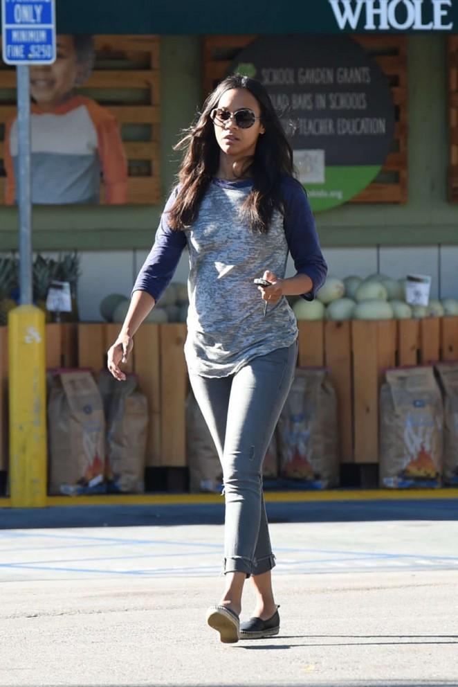 Zoe Saldana - Leaving Whole Foods in LA