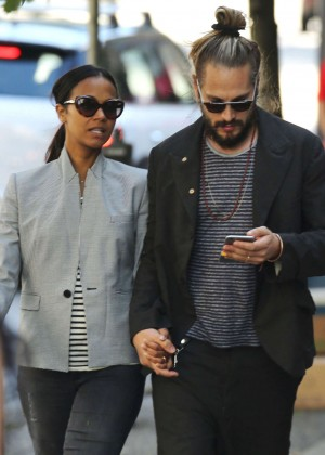 Zoe Saldana With Marco Perego Out in Vancouver
