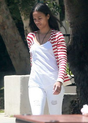 Zoe Saldana out in Studio City