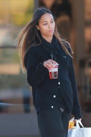 Zoe Saldana - Shopping candids at the Beverly Glen Mall in Los Angeles