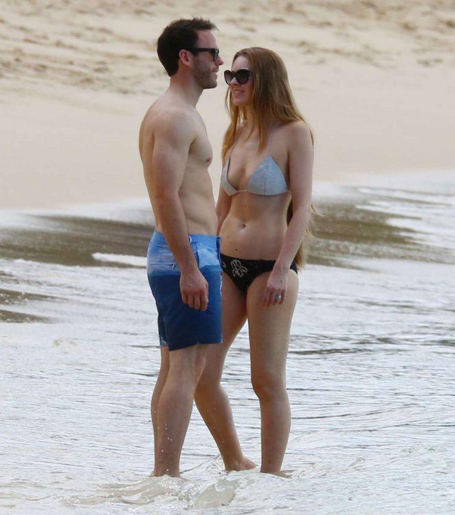 Zoe Salmon in Bikini at the beach in Barbados