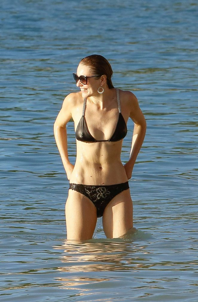 Zoe Salmon in Black Bikini on holiday in Barbados