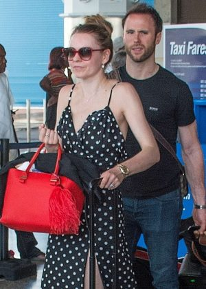 Zoe Salmon in Long Dress at Airport in Barbados