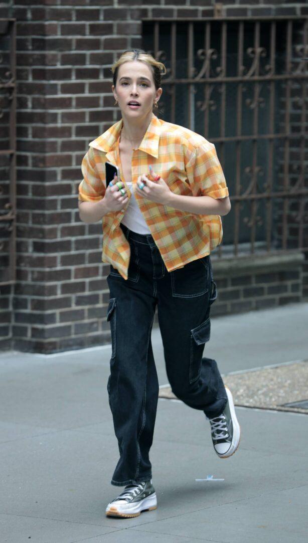 Zoey Deutch - filming for 'Not Okay' in New York