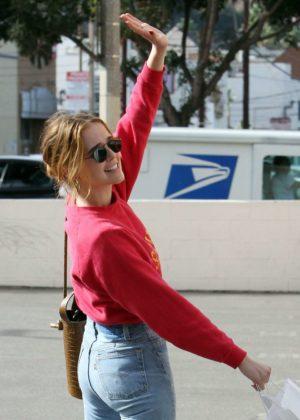 Zoey Deutch in Jeans - Leaving Alfred's in Studio City
