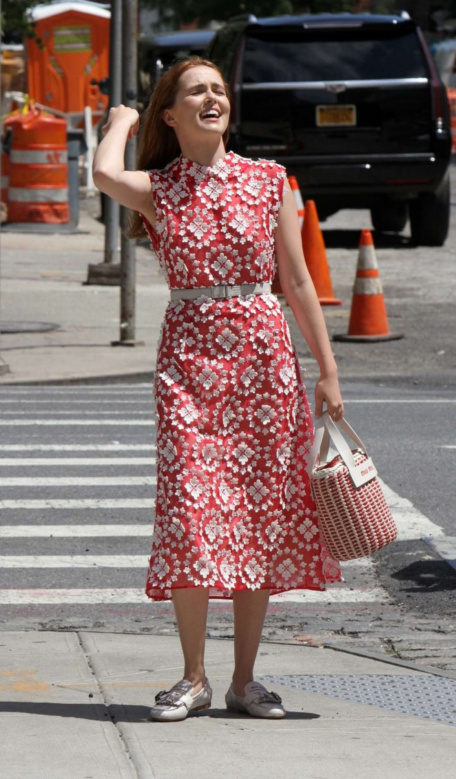 Zoey Deutch in Red Dress out in Manhattan