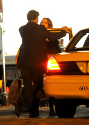 Zoey Deutch on set during night shoot at a bar for 'Richard Says Goodbye' in Vancouver