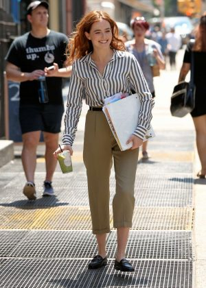 Zoey Deutch on the set of 'Set It Up' in New York City