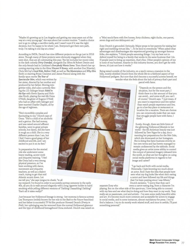 Zoey Deutch: Rogue Magazine 2016 -01 | GotCeleb