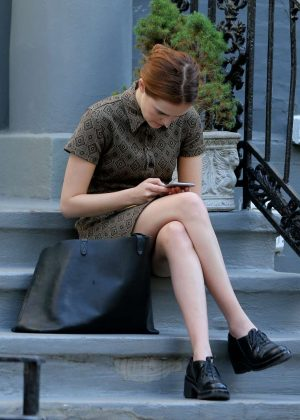 Zoey Deutch - Waiting for her Uber in New York City