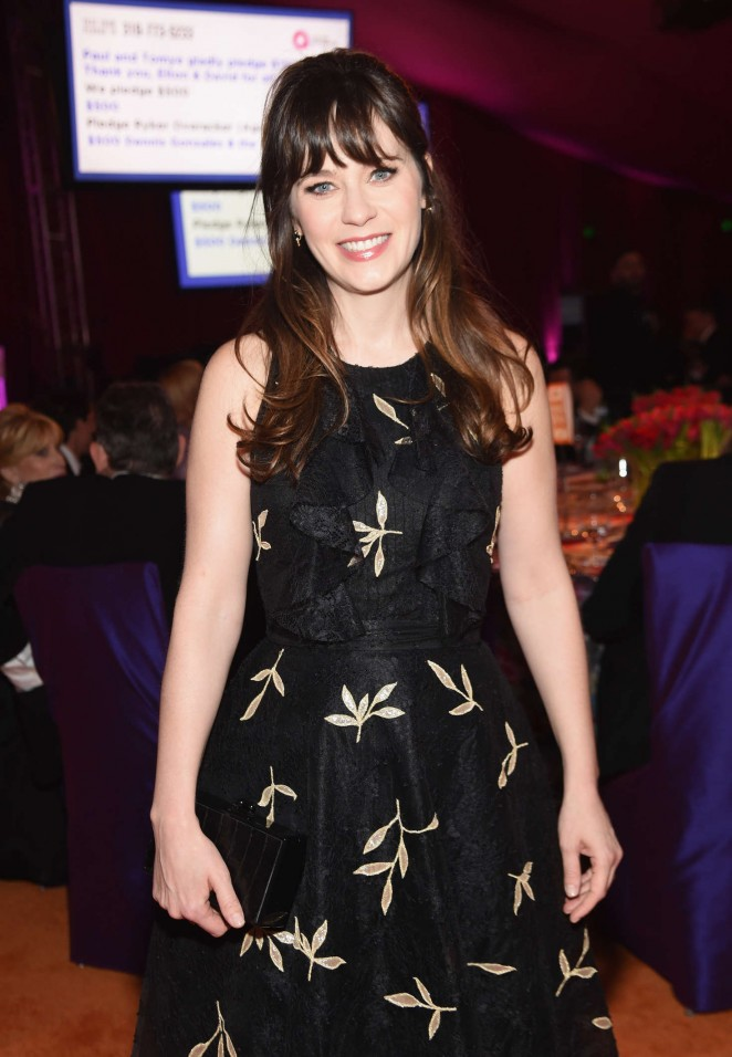 Zooey Deschanel: 2016 Elton John AIDS Foundations Oscar Viewing Party -04
