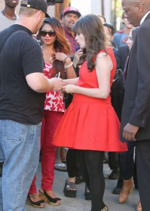 Zooey Deschanel in Red Dress - Meets with fans on the set of 'New Girl' in LA