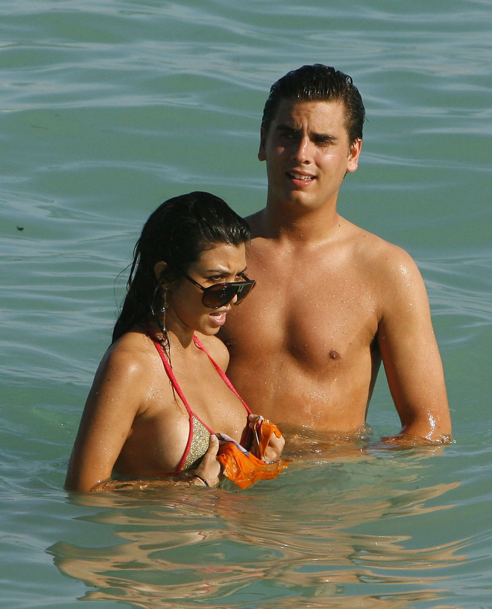 Pics of: Kourtney Kardashian in Bikini at the Beach in Miami